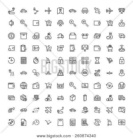 Online Shopping Flat Icon Set. Single High Quality Outline Symbol Of Info For Web Design Or Mobile A