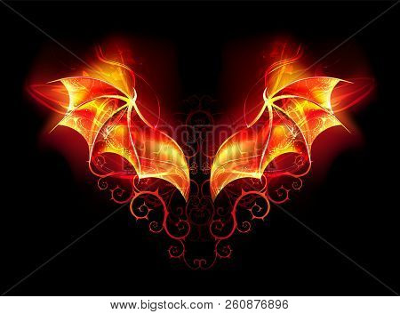 Burning Wings Of Fiery Dragon With Spiked Pattern On Black Background.