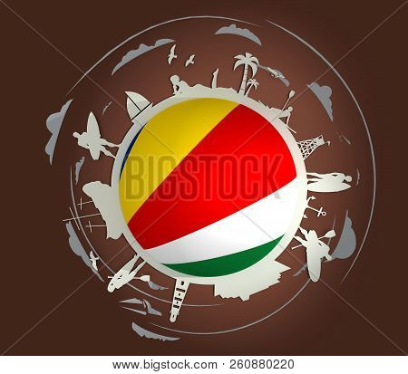 Circle With Tropical Recreation Silhouettes. Objects Located Around The Circle. Human Posing With Su