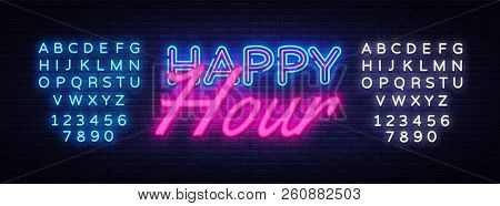Happy Hour Neon Text Vector. Happy Hour Neon Sign, Design Template, Modern Trend Design, Night Neon