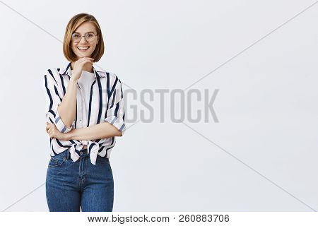 I Am Intrigued, Wanna Listen Your Idea. European Stylish Female Teacher In Trendy Glasses, Holding H