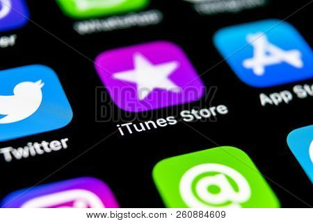 Sankt-petersburg, Russia, September 30, 2018: Apple Itunes Store Application Icon On Apple Iphone X