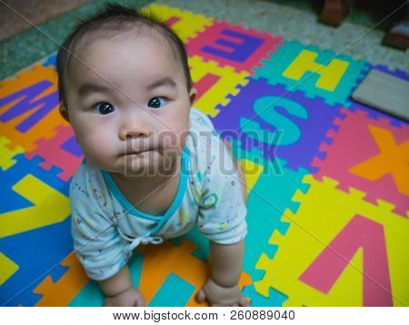 Cutie Handsome Asian Baby On The Baby Foam For Baby Playground