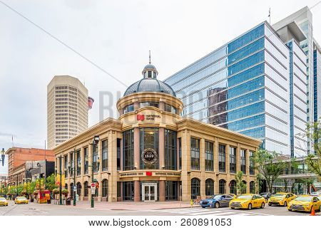 Calgary,canada - June 29,2018 - In The Streets Downtown Of Calgary City. Calgary Is A City In The Ca