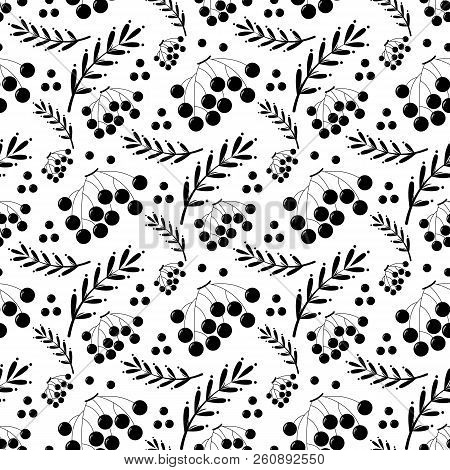 Black And White Autumn Pattern With Ashberry