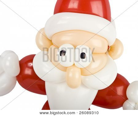 Balloon twisted Santa claus isolated on white