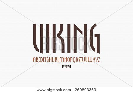 Stencil-plate Narrow Sans Serif Font In New Gothic Style. Letters For Logo And Label Design. Isolate