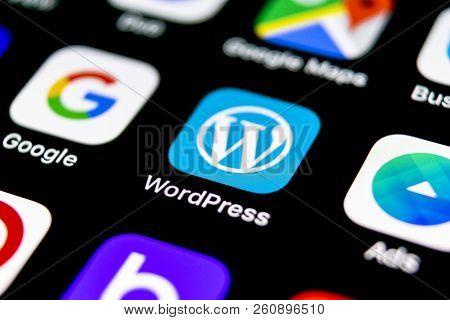 Sankt-petersburg, Russia, September 30, 2018: Wordpress Application Icon On Apple Iphone X Screen Cl