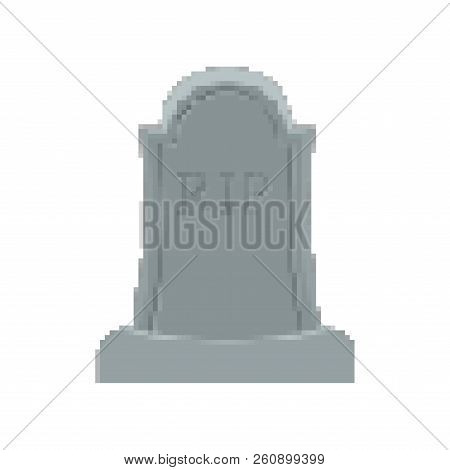 Grave Pixel Art. Tomb 8 Bit. Gravestone Halloween. Rip Cemetery Vector Illustration