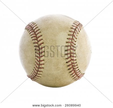 Old used baseball isolated on white