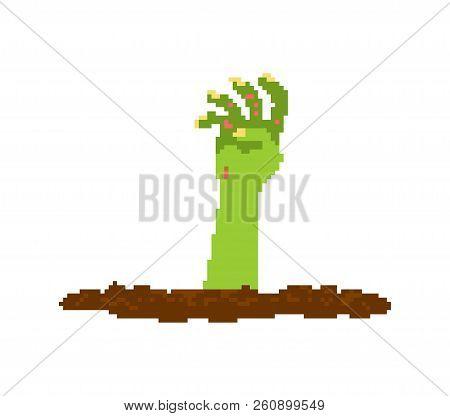 Zombie Hand Pixel Art. Dead Man From Grave 8 Bit. Halloween Vector Illustration