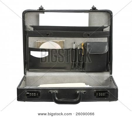 Open Black leather briefcase isolated on white