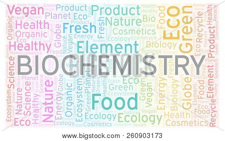 Biochemistry word cloud. Wordcloud made with text only. poster