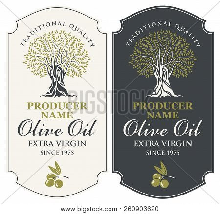 Vector Set Of Two Labels For Extra Virgin Olive Oil With Handwritten Calligraphic Inscription, Olive