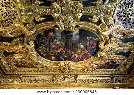 Venice, Italy - May 20, 2017: Detail Of The Nterior Of Ornate Doge`s Palace Or Palazzo Ducale. Doge`