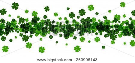 Saint Patrick's Day Banner With Four-leaved Shamrocks. Vector Paper Illustration.