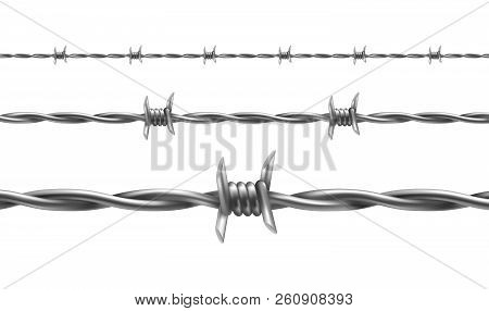 Barbed Wire Vector Illustration, Horizontal Seamless Pattern With Twisted Barbwire Isolated On Backg