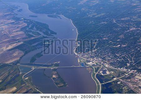 Aerial view of Alton Illinois and the clark bridge
