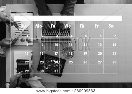 Agenda Activity On Conputer Business Man Making Agenda Information Calendar Events And Meeting Organ