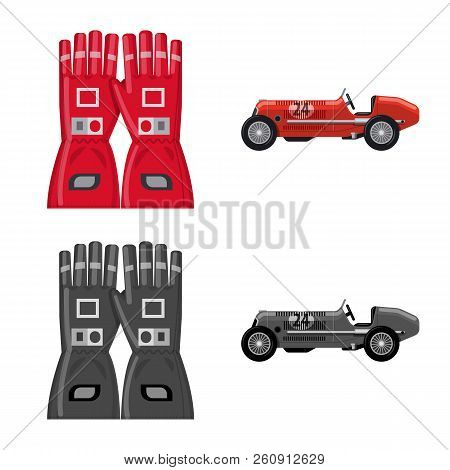 Isolated Object Of Car And Rally Sign. Set Of Car And Race Stock Symbol For Web.