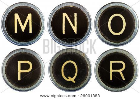 Vintage typewriter letters MNOPQR isolated on white