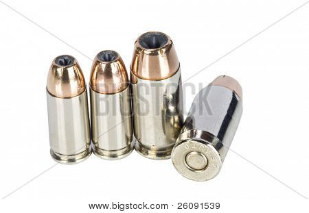 Hollow point bullets on white