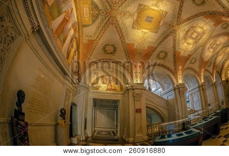 Washington Dc, Usa - September 4, 2018: Interior Of Library Of Congress In The Jefferson Building Wi
