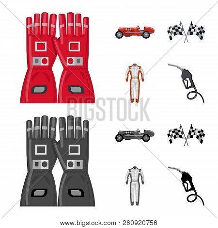 Vector Design Of Car And Rally Sign. Set Of Car And Race Stock Vector Illustration.