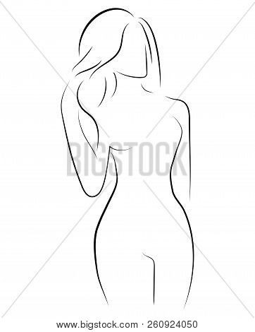 Female Figure. Outline Of Young Girl. Stylized Slender Body. Linear Art. Black And White Vector Illu
