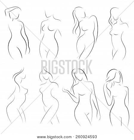 Set Of Female Figures. Collection Of Outlines Of Young Girls. Stylized Slender Body. Linear Art. Bla