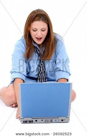 Beautiful Young Woman In Man's Shirt and Tie With Laptop.