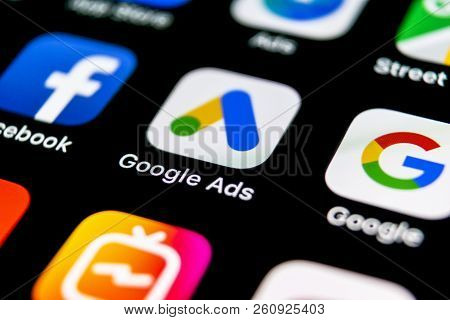 Sankt-petersburg, Russia, September 30, 2018: Google Ads Adwords Application Icon On Apple Iphone X