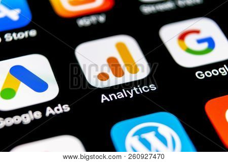 Sankt-petersburg, Russia, September 30, 2018: Google Analytics Application Icon On Apple Iphone X Sc