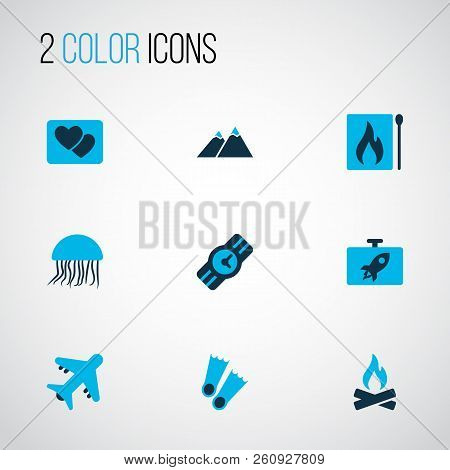 Journey Icons Colored Set With Jellyfish, The Mountains, Matches And Other Matchbox Elements. Isolat