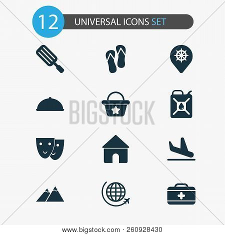 Journey Icons Set With House, The Mountains, Petrol And Other Popsicle Elements. Isolated Vector Ill