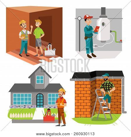 Inspectors Checking Room Water Heater And House Roof Set