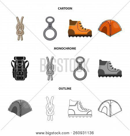 Vector Design Of Mountaineering And Peak Sign. Collection Of Mountaineering And Camp Stock Vector Il