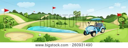 Golf Course With Green, Water And Sand Bunker. Summer Landscape Vector Cartoon Illustration. Golf Ca