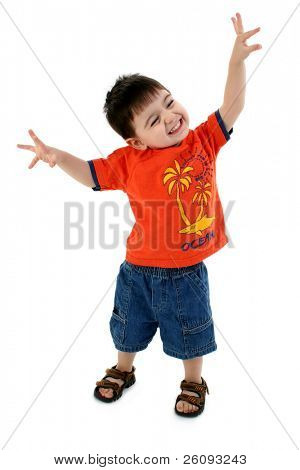 Adorable Toddler Boy Pretending To Be An Airplane. Wearing casual clothes and sandals. Shot in studio over white.