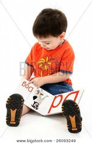 Adorable Toddler Boy Reading Alphabet Book.  Book pages created in photoshop.  Shot in studio over white.