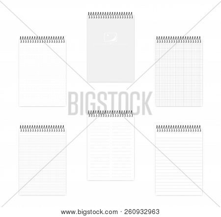 A5 Top Spiral Notebook Set, Realistic Vector Mockup. Wire Bound Notepad With Various Ruled Paper, Mo