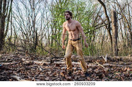 Man Beaded Brutal Sexy Lumberjack Looking For Log. Masculine Leisure. Lumberjack Or Woodman Sexy Nak