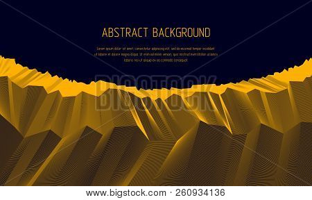 Line Art 3d Abstract Vector Background With Geometric Linear Terrain Surface Of Fantastic Cosmic Pla