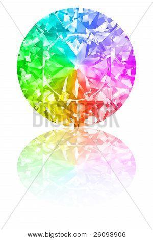 Diamond Of Rainbow Colours On White