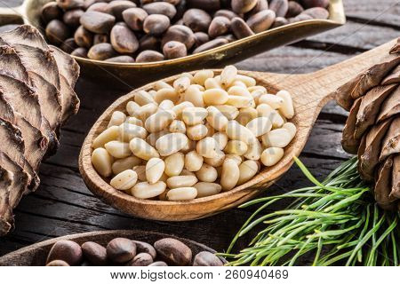 Pine nuts in the spoon and pine nut cone on the wooden table. Organic food.