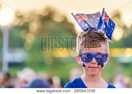 Cute Australian Boy With Flag Tattoos On His Face On Australia Day Celebration In Adelaide