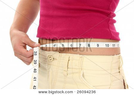 Close-up of woman holding measuring tape around waist.