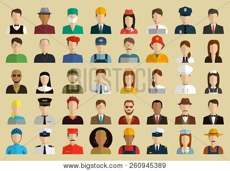 People Of Different Occupations. Professions Icons Set. Flat Design. Vector
