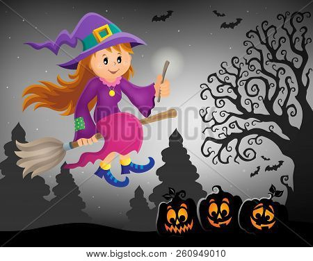 Cute Witch Theme Image 7 - Eps10 Vector Picture Illustration.