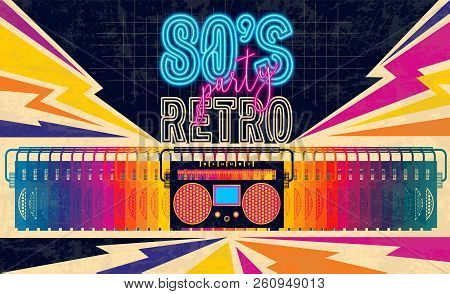 80s, Retro Music Party Banner Or Cover. Old Style Vector Poster. Disco Fluorescent Neon Style For Ei